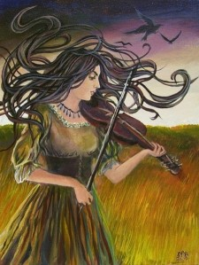 Gypsy woman playing the violin