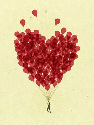 Balloon hearts - artist unknown