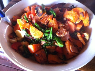 Sweet potato & bacon stir fry